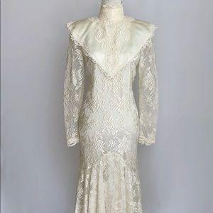 Vintage Boho Jessica McClintock Lace Wedding Dress